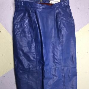 Together deep blue 90's leather high waisted skirt